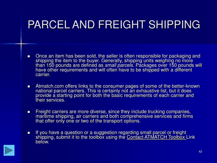 PARCEL AND FREIGHT SHIPPING