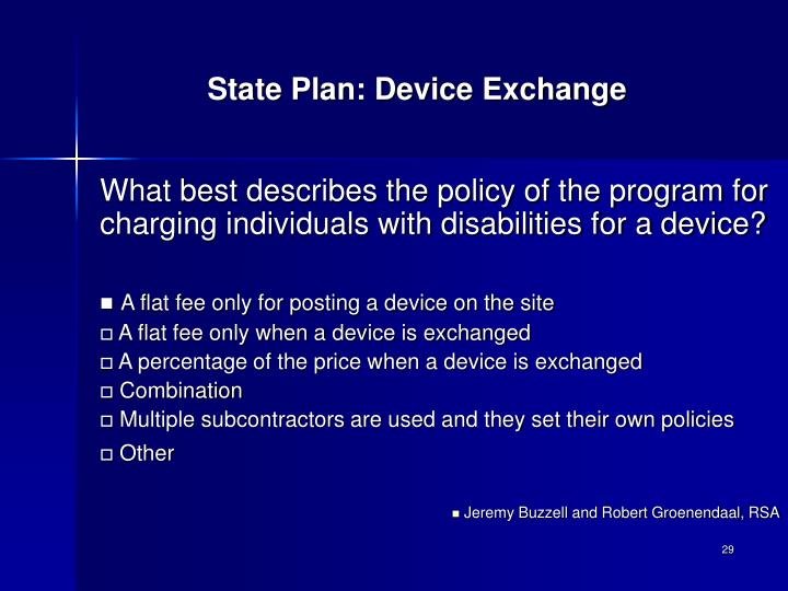 State Plan: Device Exchange