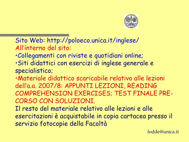 Sito Web: http://poloeco.unica.it/inglese/