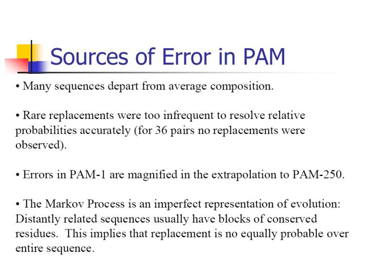 Sources of Error in PAM