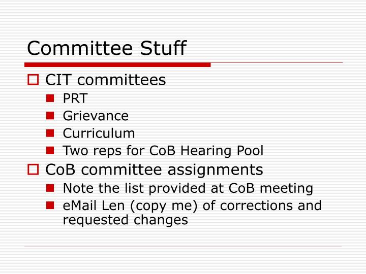 Committee Stuff