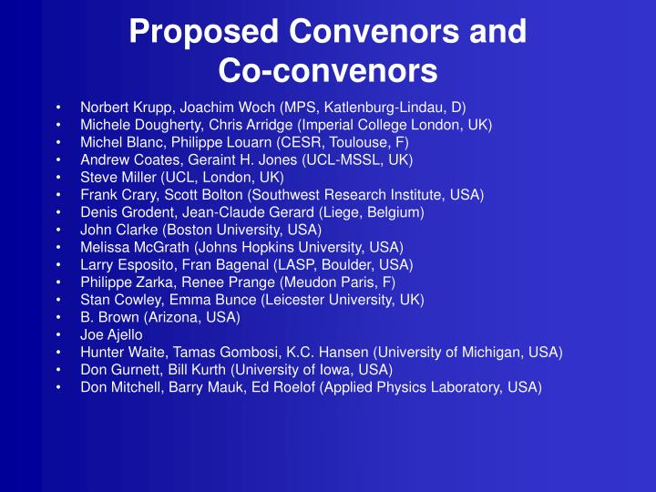 Proposed Convenors and
