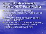higher education research institute heri factor analysis
