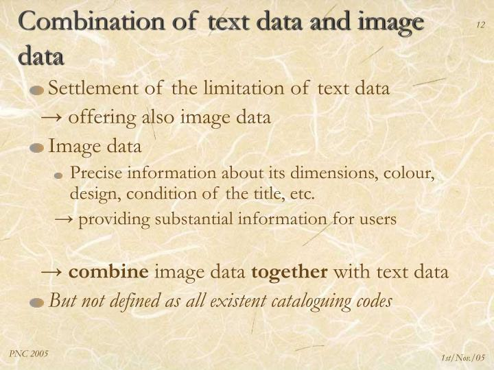Combination of text data and image data