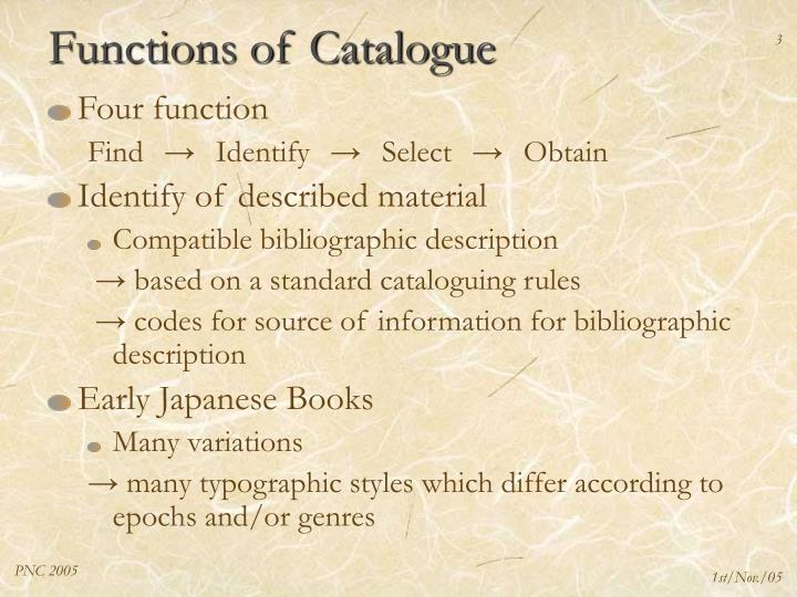 Functions of catalogue