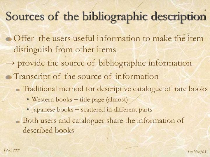 Sources of the bibliographic description