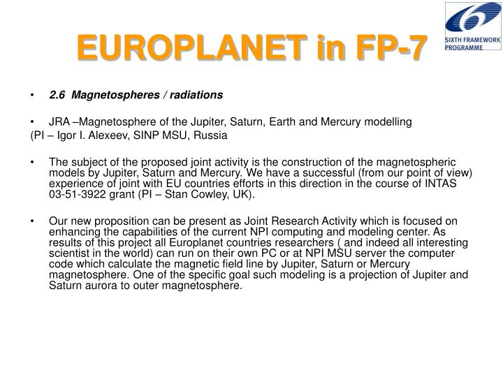 Europlanet in fp 7