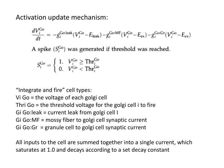Activation update mechanism: