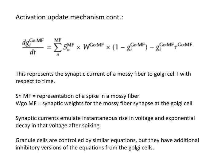 Activation update mechanism cont.: