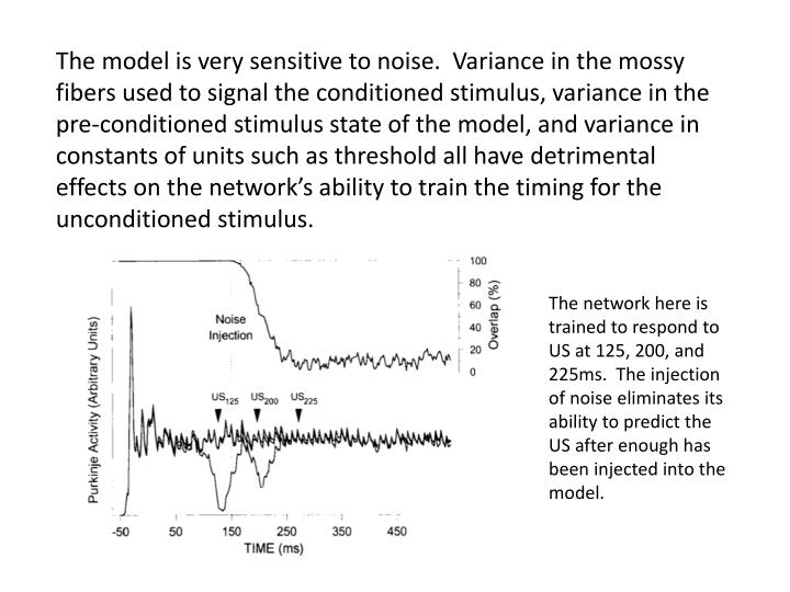 The model is very sensitive to noise.  Variance in the mossy fibers used to signal the conditioned stimulus, variance in the pre-conditioned stimulus state of the model, and variance in constants of units such as threshold all have detrimental effects on the network's ability to train the timing for the unconditioned stimulus.