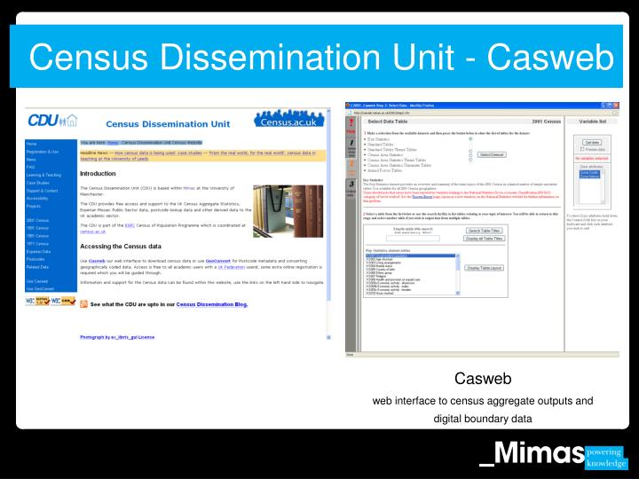 Census Dissemination Unit - Casweb