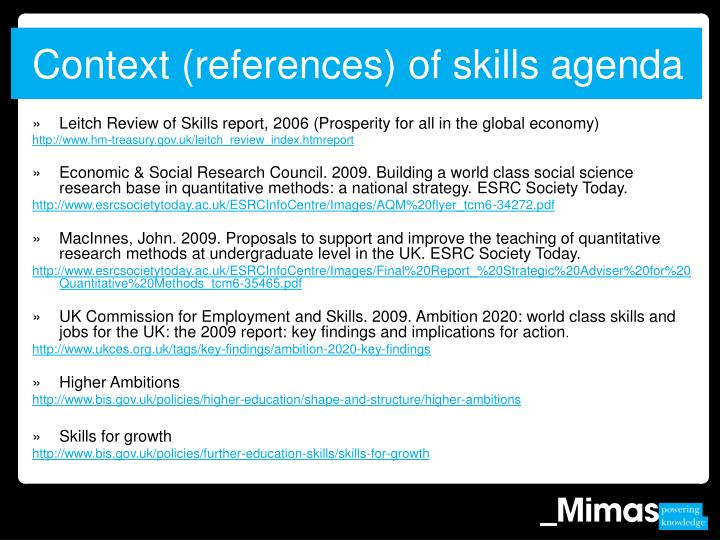 Context (references) of skills agenda
