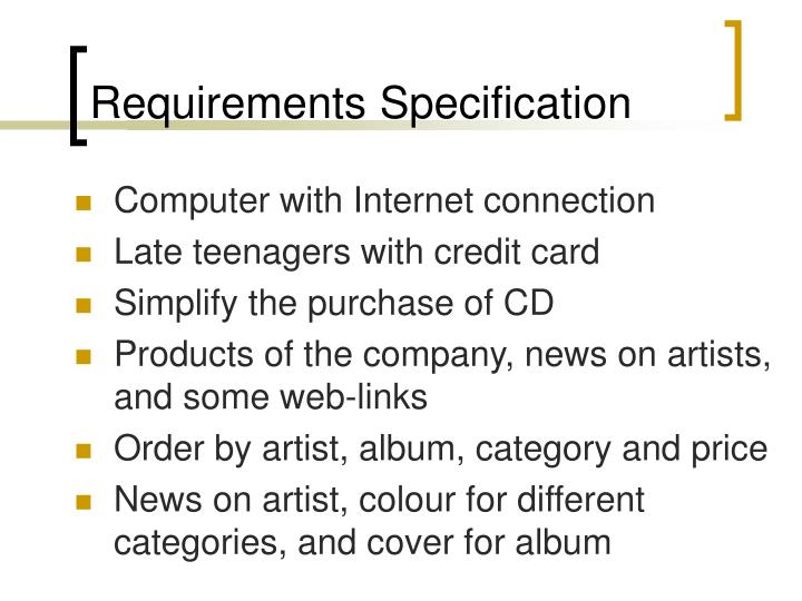 requirements specification n.
