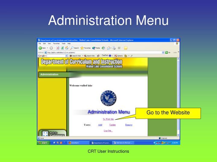 Administration Menu