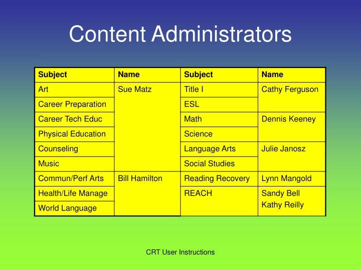 Content Administrators