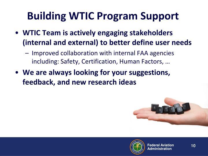 Building WTIC Program Support