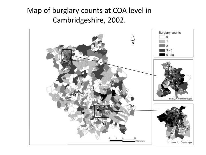 Map of burglary counts at COA level in Cambridgeshire, 2002.