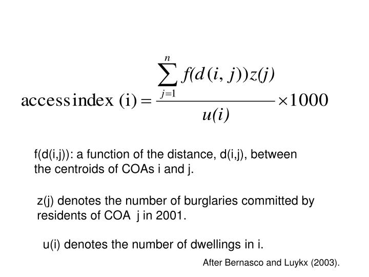 f(d(i,j)): a function of the distance, d(i,j), between the centroids of COAs i and j.