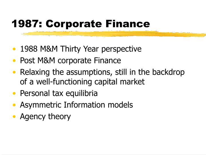 1987: Corporate Finance