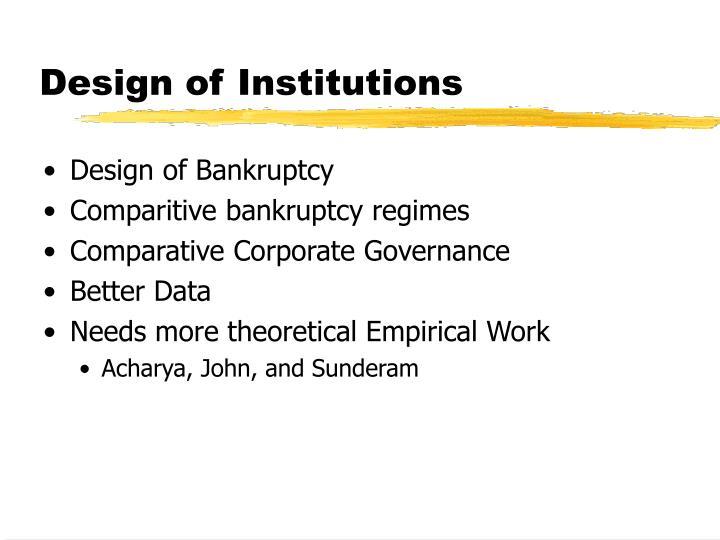 Design of Institutions