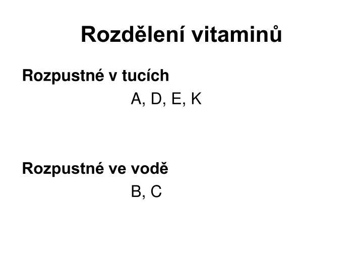 Rozdělení vitaminů