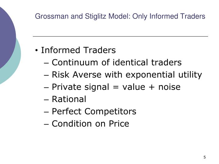Grossman and Stiglitz Model: Only Informed Traders