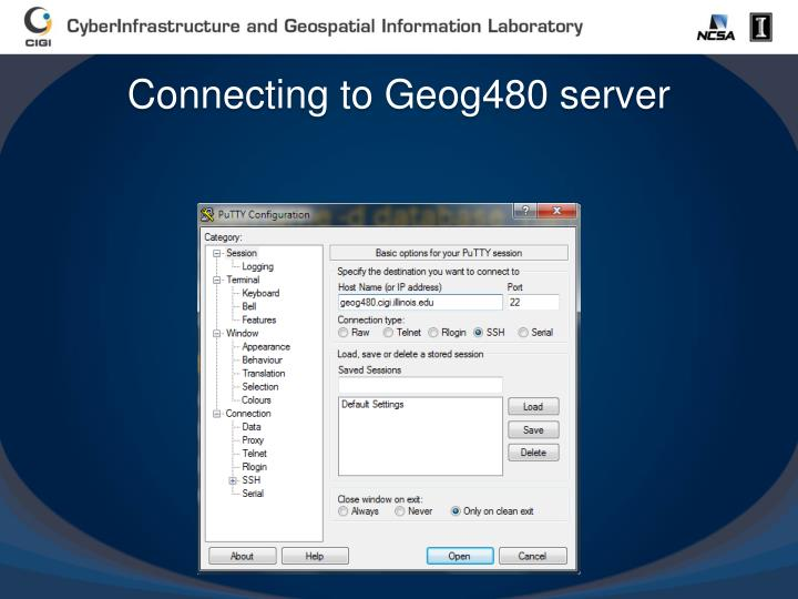 Connecting to Geog480 server