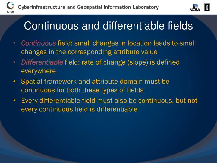 Continuous and differentiable fields