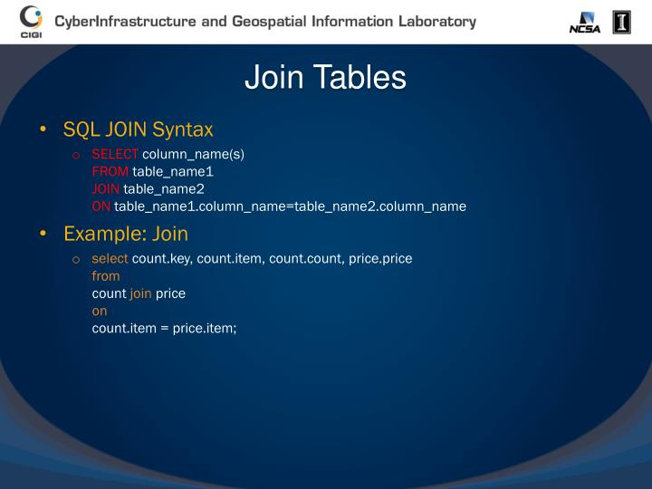 Join Tables