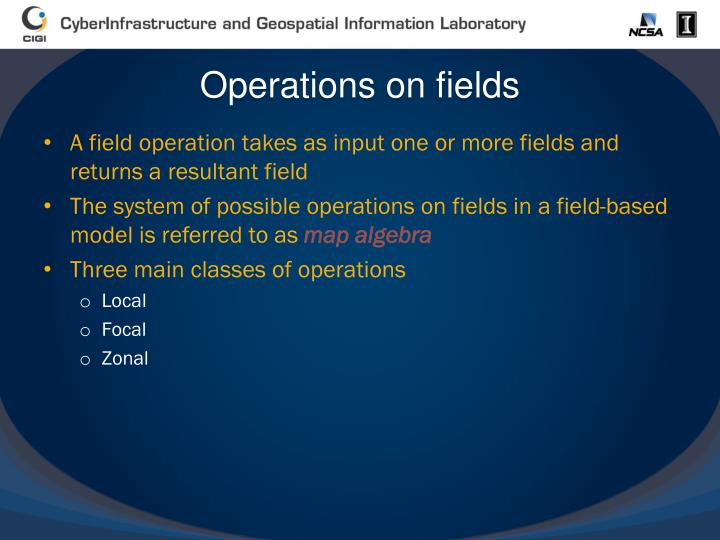 Operations on fields