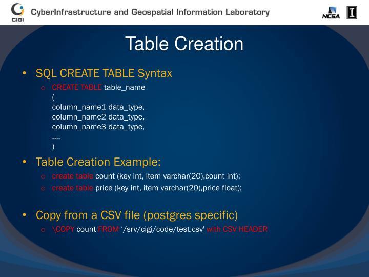 Table Creation