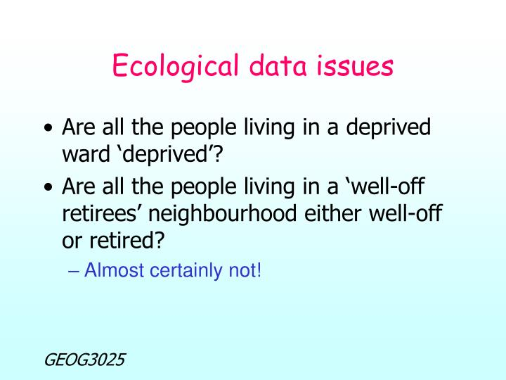 Ecological data issues