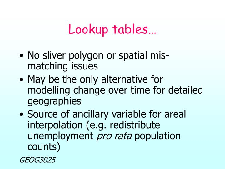 Lookup tables…
