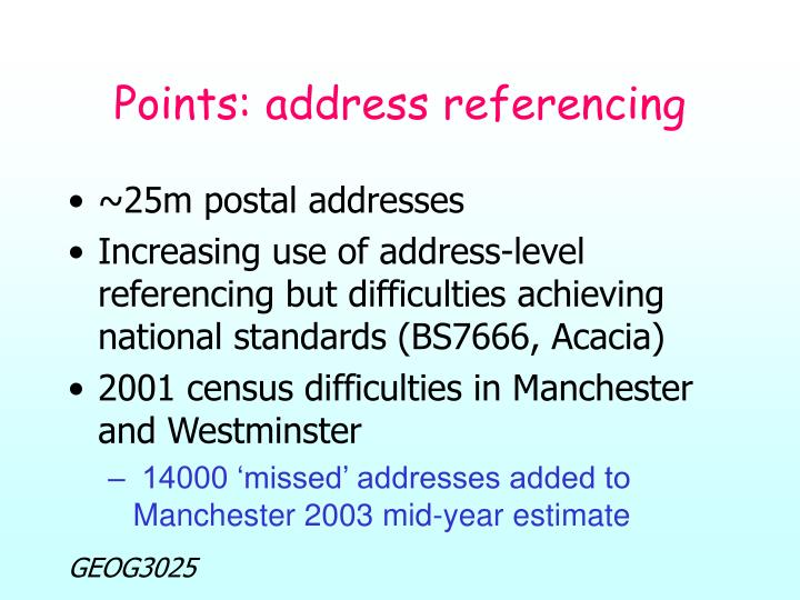 Points: address referencing