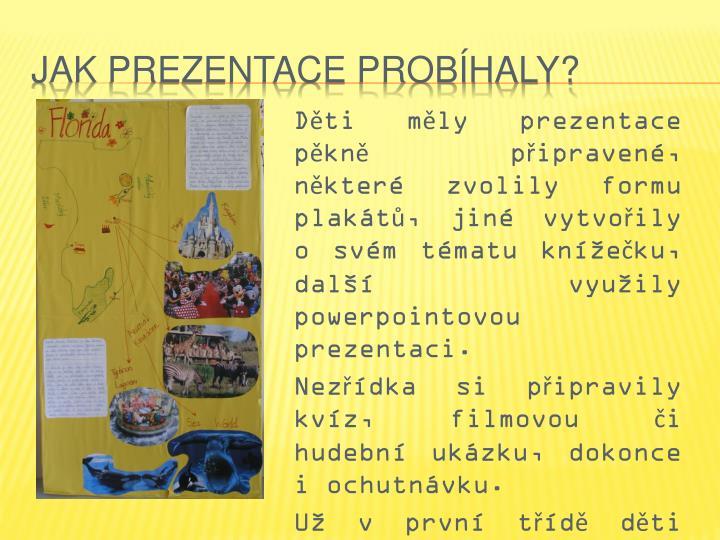 Děti měly prezentace pěkně připravené, některé zvolily formu plakátů, jiné vytvořily o svém tématu knížečku, další využily