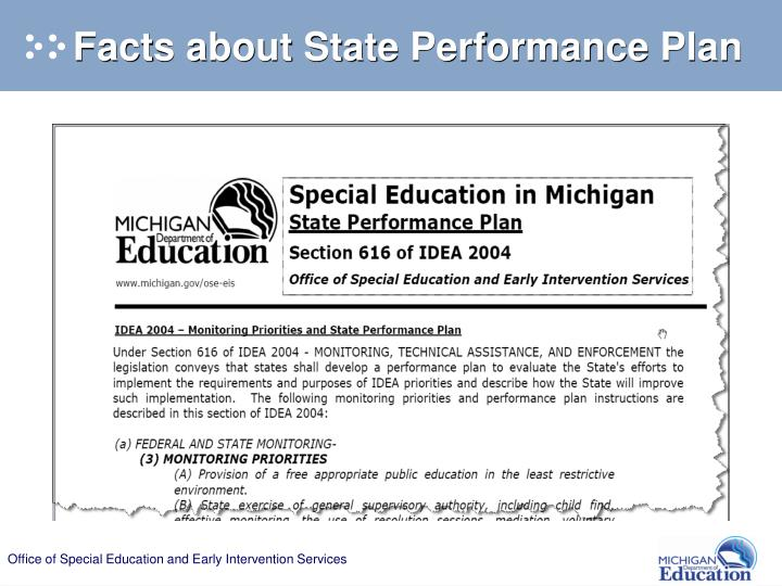 Facts about State Performance Plan