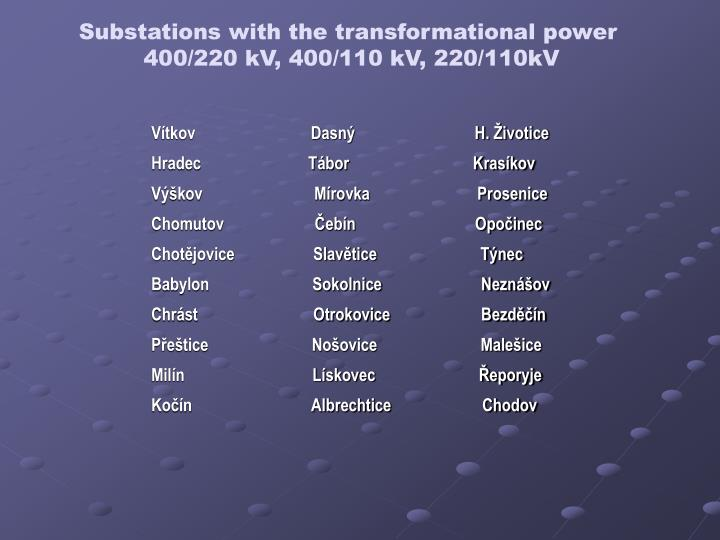 Substations with the transformational power