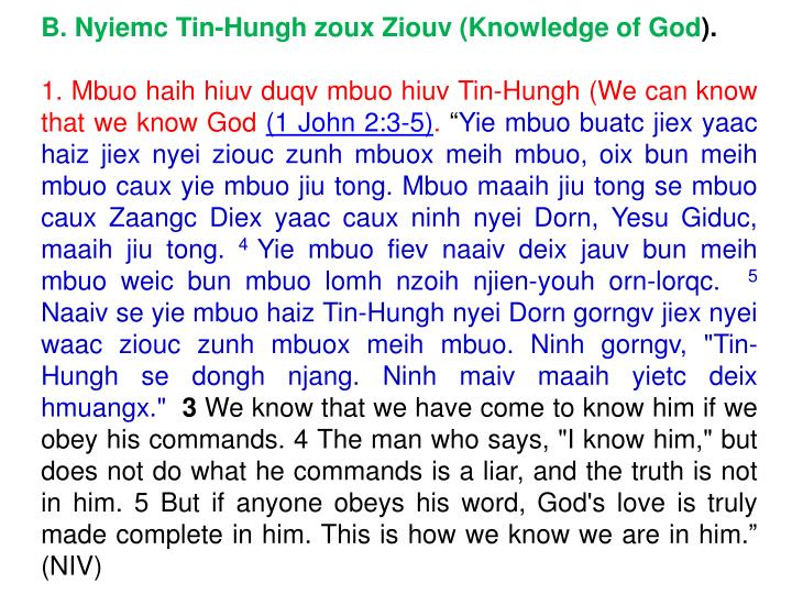 B. Nyiemc Tin-Hungh zoux Ziouv (Knowledge of God