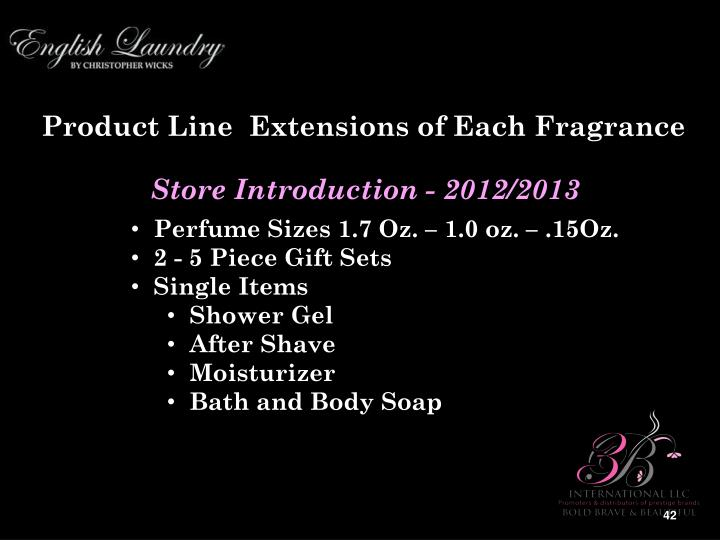 Product Line  Extensions of Each Fragrance
