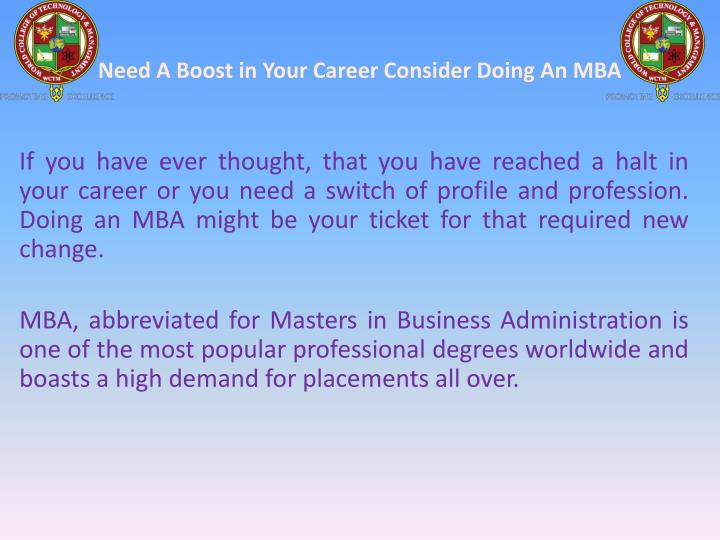need a boost in your career consider doing an mba n.