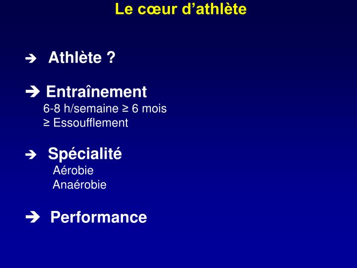 Le cœur d'athlète