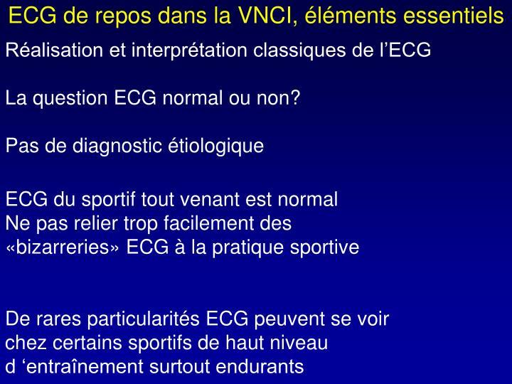 ECG de repos dans la VNCI, éléments essentiels