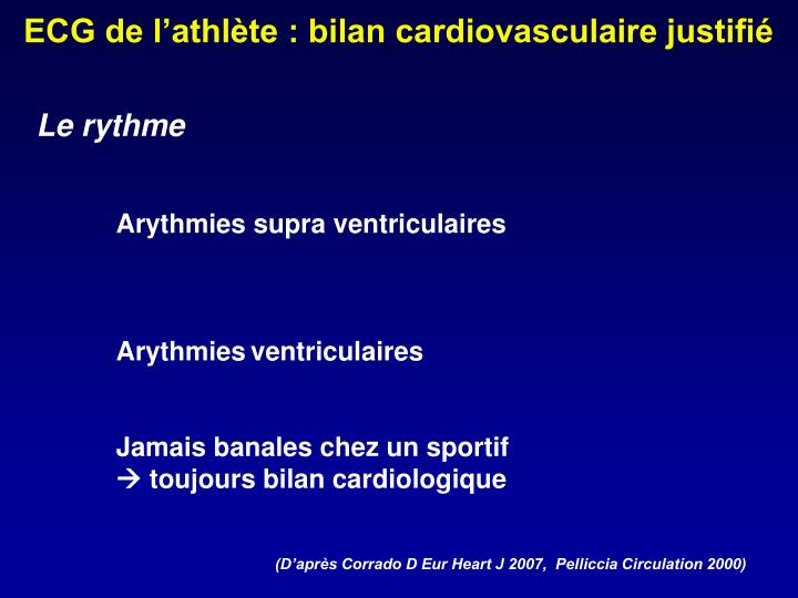 ECG de l'athlète : bilan cardiovasculaire justifié