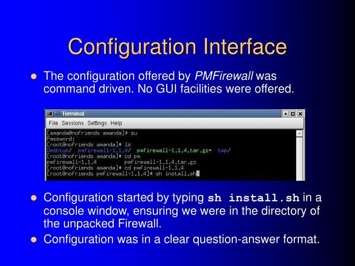 Configuration Interface