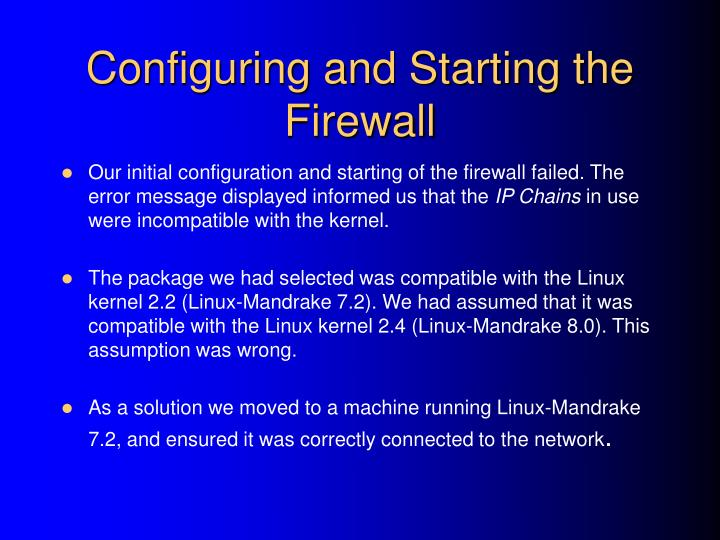 Configuring and Starting the Firewall