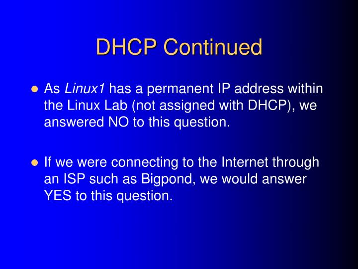DHCP Continued