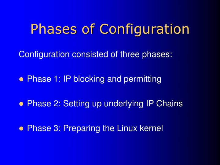 Phases of Configuration