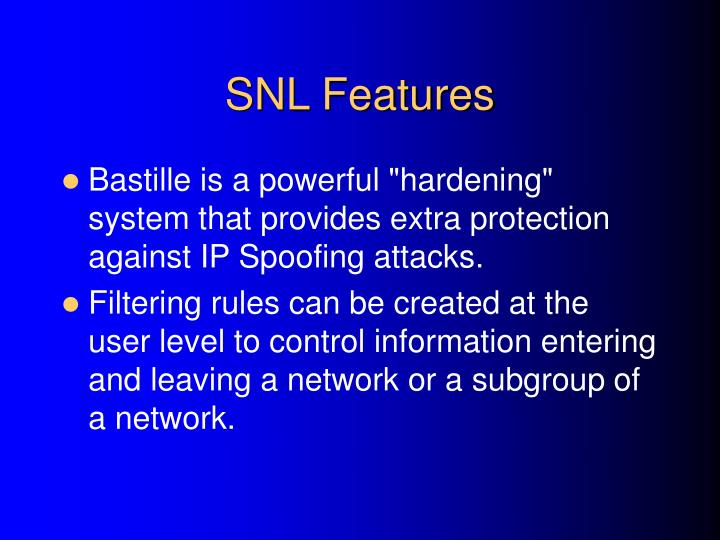 SNL Features