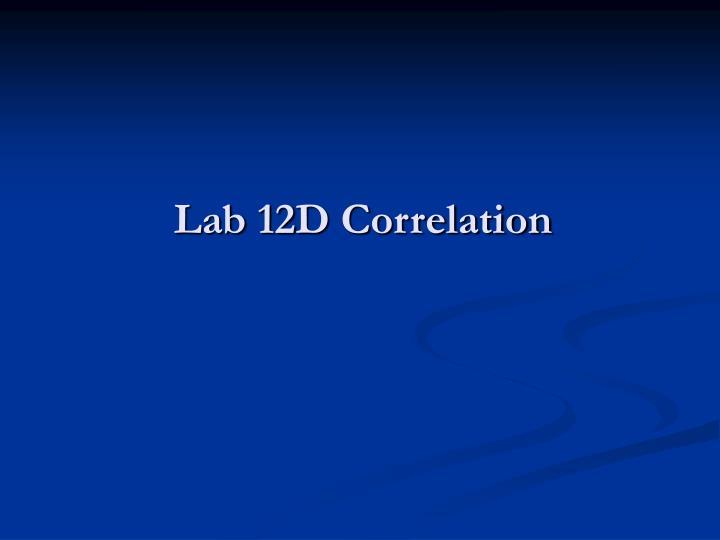 Lab 12D Correlation