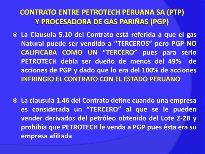CONTRATO ENTRE PETROTECH PERUANA SA (PTP)